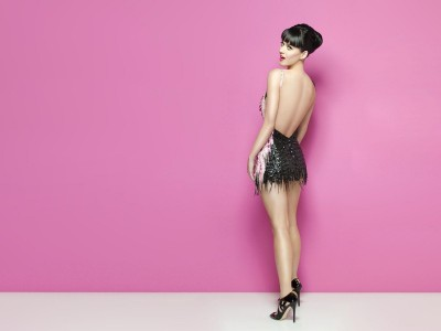 Black,satiny dress pinky trim