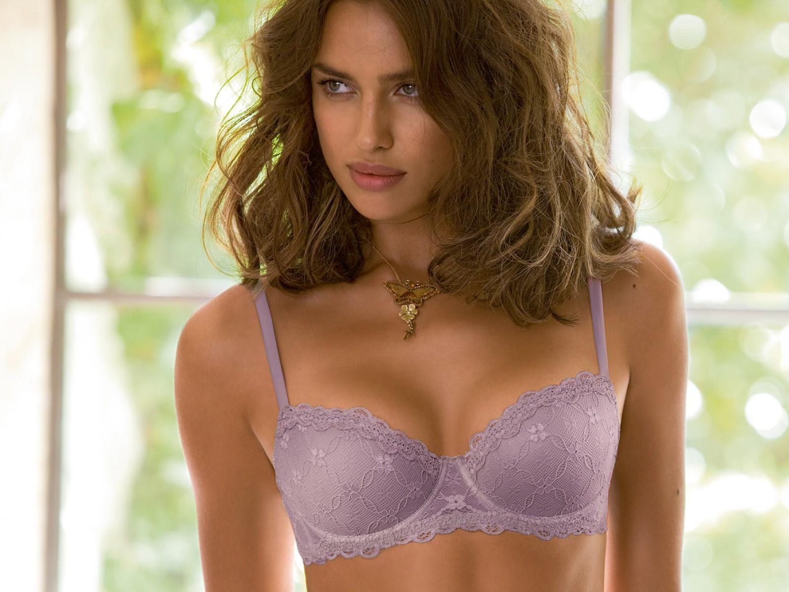 Lavender,blue Bra With Pattern