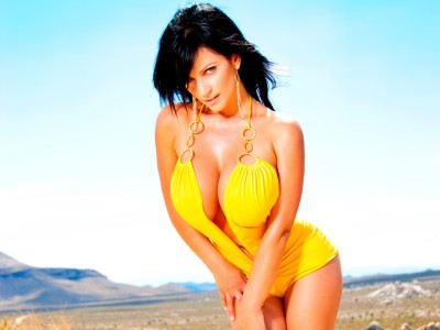 Yellow,bathing costume with plunging neckline