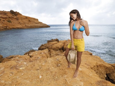 Blue,bikini top with yellow short straw hat
