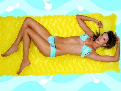 Blue,pale with white pattern bikini