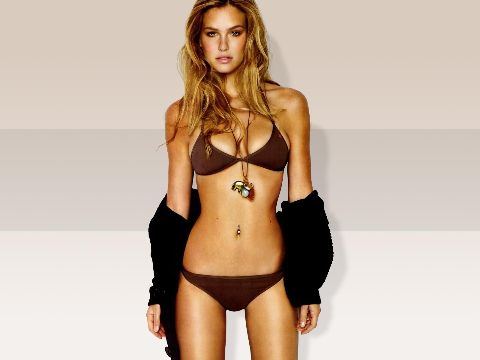 Brown,bikini With Black Wrap
