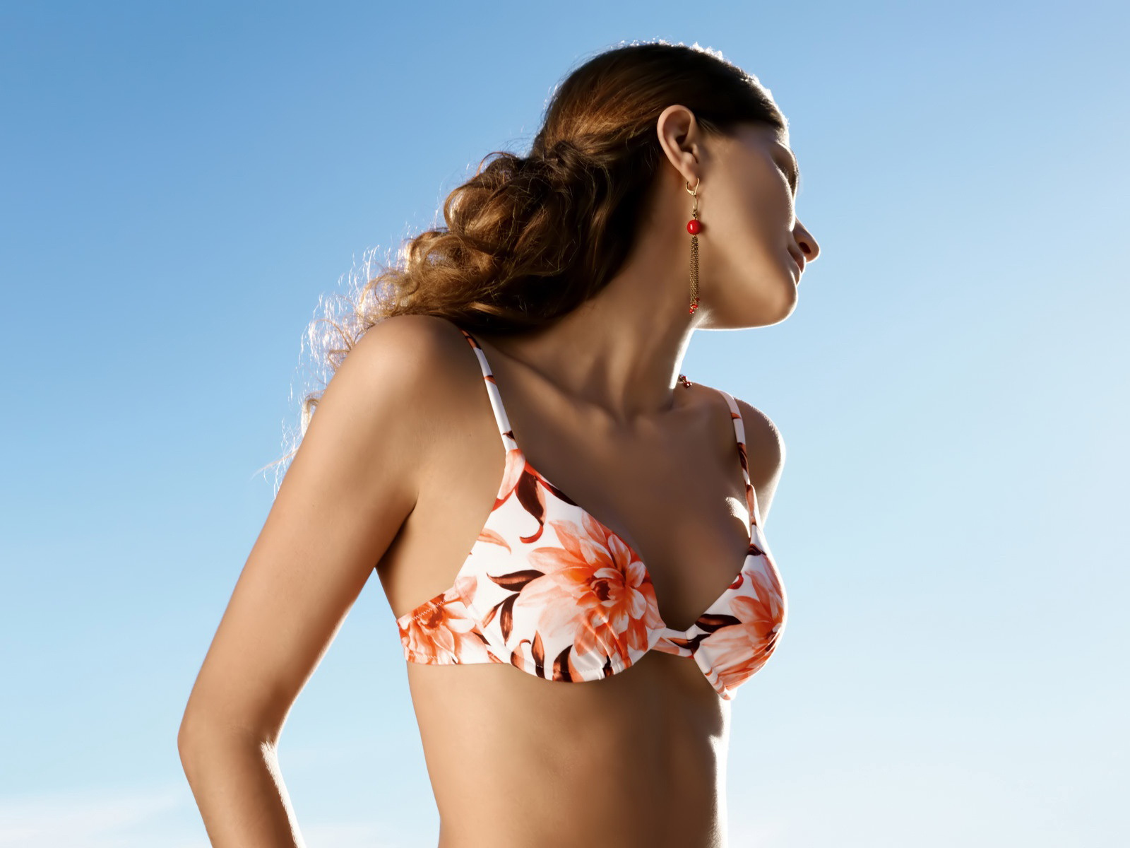 Floral,orange White Brown Bikini Top