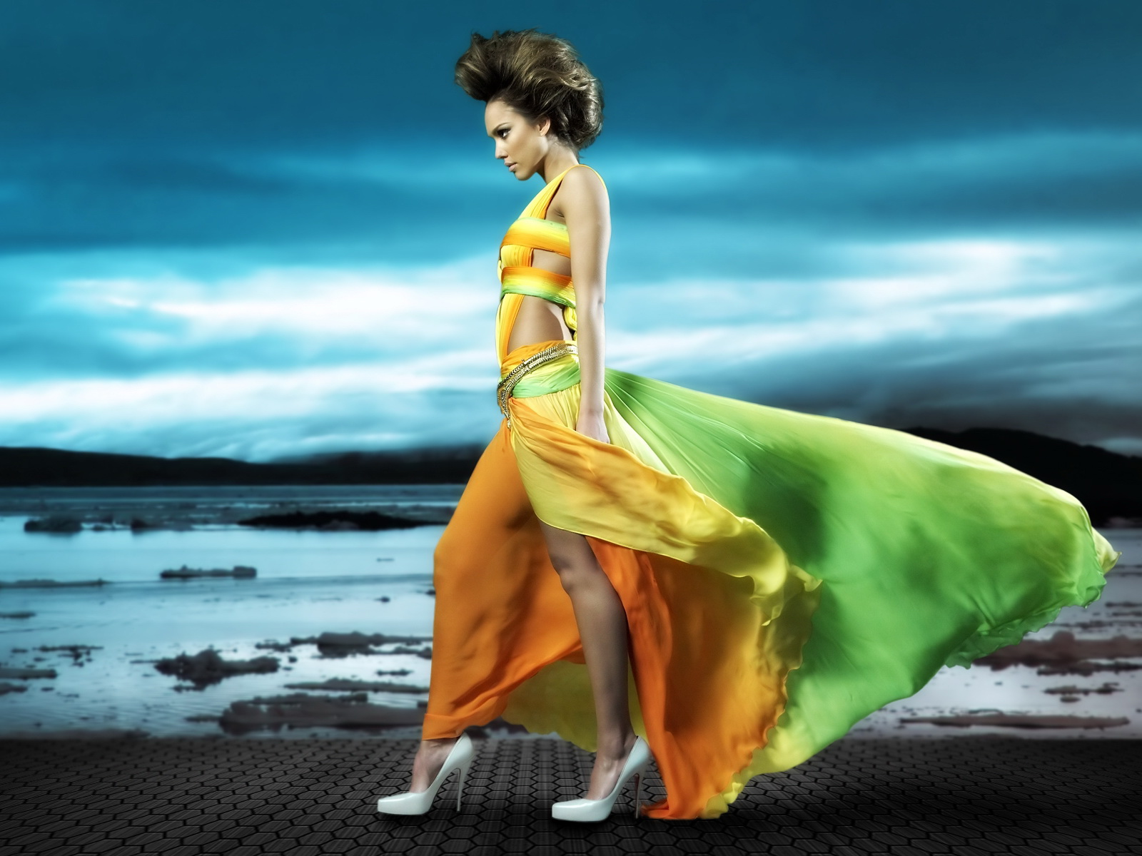 Multi,coloured long flowing dress