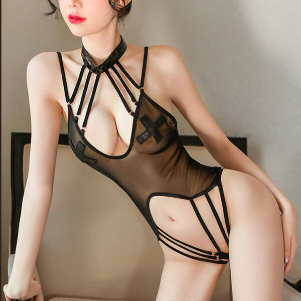 Women See Through Nightwear Sexy Lingerie Underwear Perspective Uniform Temptation Erotic Rompers Bodysuits