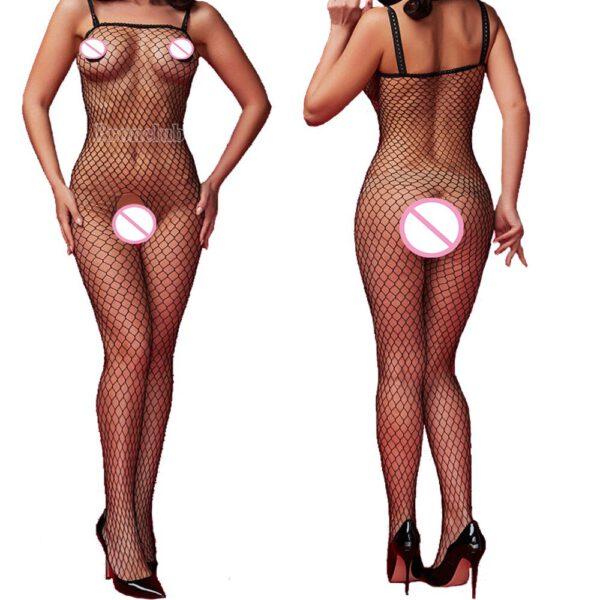 Sexy Bodystockings Women Fishnet Open Crotch catsuit Mesh tights Lingerie Erotic Bodysuit Sleepwear Crotchless jumpsuit Teddies
