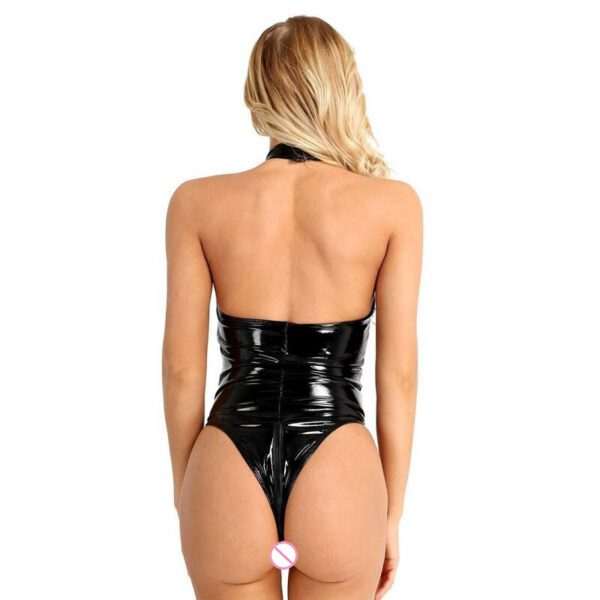 Women Plus Size Faux Leather Jumpsuits Zipper Open Crotch Bodysuit For Sex Ladies Mesh Glossy Leather Lingerie With Chains