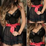 Women-Sexy-Lace-Splice-Babydoll-Sexy-Hot-Erotic-Set-Lingerie-Dress+G-string-Babydoll-Set-Black-Sexy-Underwear-Plus-Size