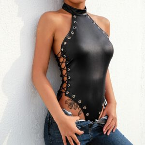 Women bodystocking Sexy crotchless Rivet One-piece Blackless Bodysuit Jumpsuit Teddy Lingerie Underwear body encaje mujer