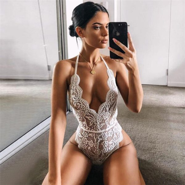 Black Lace Body Suits Women Erotic Lingerie Halter Rompers Sexy Teddies Bodysuits Plus Size Underwear Costumes Female S-3XL