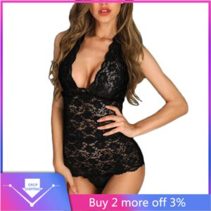 G-string New Women Lace Sexy Lingerie Open Back Scalloped Lace Sheer Teddy Bodysuit Romper Erotic cosplay costume mujer lenceria