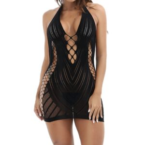Womens Erotic Underwear Ladies Lingerie Sexy Babydoll Dress Underwear Sleepwear Chemise Dress Hollow Out Wire Free Unlined FD
