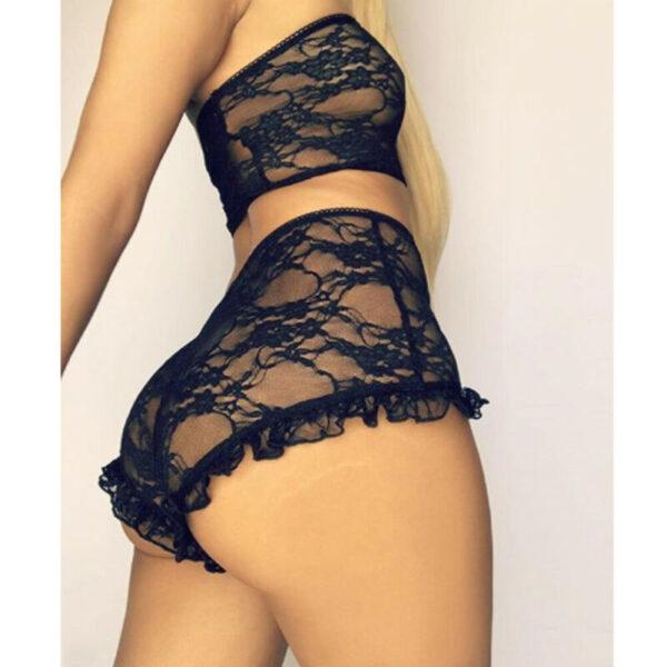Porn Sexy Women Lace Tulle Lingerie Set Ruffle Sleepwear Babydoll Ladies Sexy Bandeau Underwear Nightwear Exotic Sets