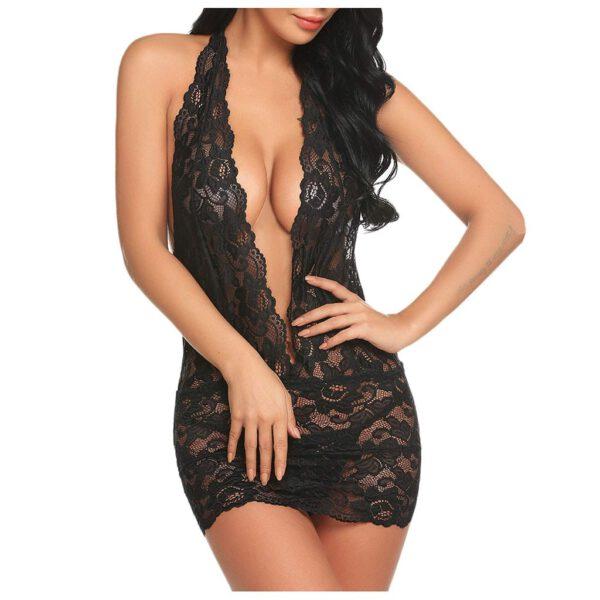 New Women Clubwear Lace Teddy Lingerie Sexy Deep V Halter One Piece Transparent Dress Bodysuit Nightdress Sexy Lingerie
