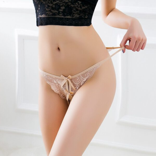 Women Sexy Open Crotch Panties Flower Lace Briefs Female Erotic Thongs G-string Sexy Crotchless Lingerie Transparent Underwear