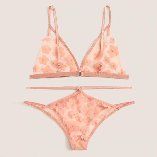 Lingerie Micro Bikini Sex Shop Open Bra Lenceria New Women Cute Flower Applique Sheer Cut-Out Bra Thong Lingerie Underwear Set