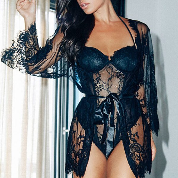 Sexy Lingerie Hot Women Porno Sleepwear Lace Underwear Sex Clothes Babydoll Erotic Transparent Dress black sexy lingerie DE2