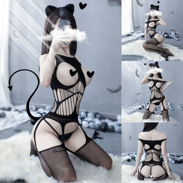 2020 New Lace Off Shoulder Fishnet Bodysuit Women Sex Clothes Perspective Open Crotch Body Stockings Topless Mesh Sexy Lingerie