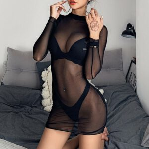Transparent Sexy Dress Women's Sheer Mesh See-through Long Sleeve Dresses Crop Tops Casual Clubwear Mini Dress Sexy Lingerie