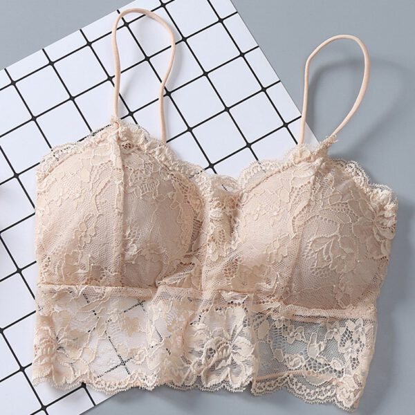 sexy lingerie Women Sexy Lace Bralette Camis Vest Have A Chest Pad Wearing Sports Floral Underwear brassiere sport femme FD