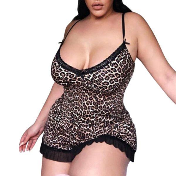 5XL Plus Size Women Sexy Lingerie Hot Erotic Apparel Porno Leopard Print Sleepwear Underwear Teddy Nightwear Sex Costumes