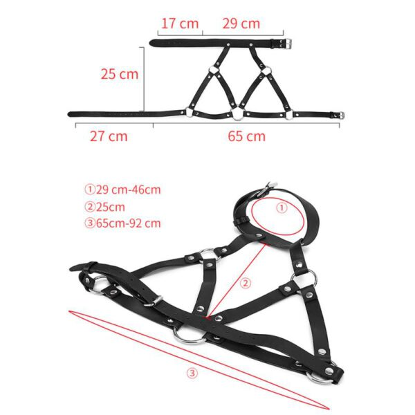 BDSM Cosplay Costumes Women's Waist Belts PU Leather Adjustable Body Chest belt punk gothic Harness Bra with Buckles Rings