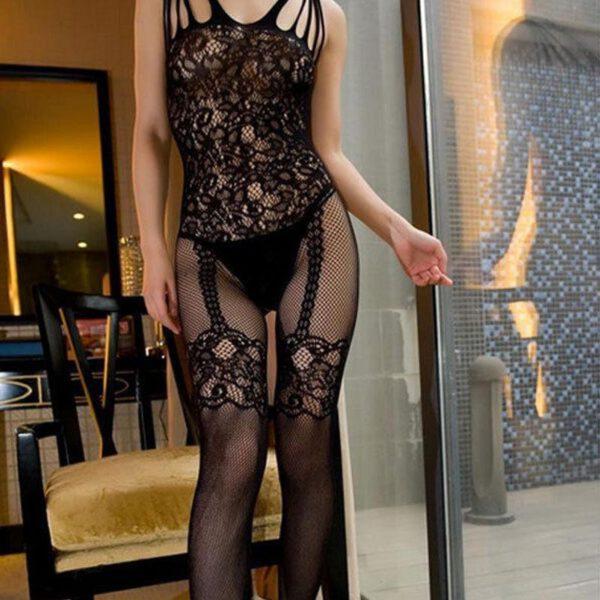 Sexy Lingerie Jumpsuit Mesh Stockings See Through Women Nightclub Clothing Women Bodysuit