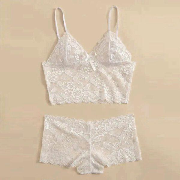 2Pcs Lingerie Women Lace Bra Lace Bowknot Red&Black Stretch Mini Briefs Lingerie Sexy Hot Underwear Erotic Nightwear Babydoll