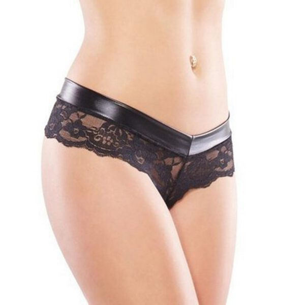 Hollow Lace Thongs Women Leather Patchwork Translucent Floral Low Waist G-strings Womens Sexy Exotic Panties Bielizna Damska