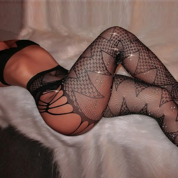 Sexy Women Tights Glitter Rhinestone Sexy Lace Stockings Female Thigh High Fishnet Embroidery Transparent Crotchless Pantyhose