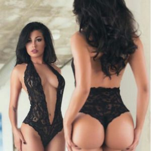 One Piece V-neck Lingerie Erotic Teddies Bodysuit Sexy Hot Women Floral Lace Body Suit Plus Size Porno Costume Intimates Black 0