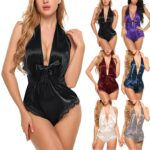Silk Pajamas Sexy Satin Underwear Jumpsuit Bodysuit Teddy Lingerie Sleepwear Support Dropshipping FE4