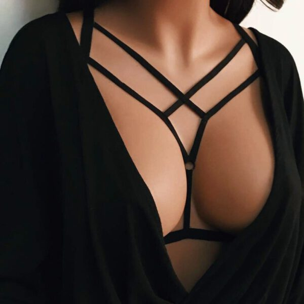 Sexy Women Hollow Out Elastic Cage Bra Bandage Strappy Halter Bra Bustier Top