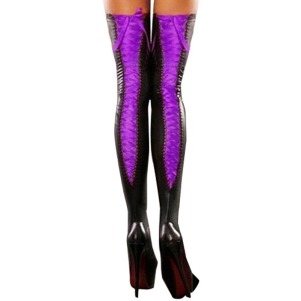 Sexy Club Women Comfortable Thigh-high Stockings Female Leather Lace Bow Long Happy Socks Lady Streetwear Novelty Casual Socks