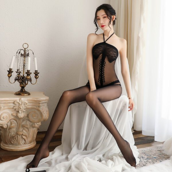 Sexy Open Crotch Tights Silk Transparent Bodysuit Body Stockings Erotic Underwear Women Sexy Teddy Lingerie Porn Sex Costumes