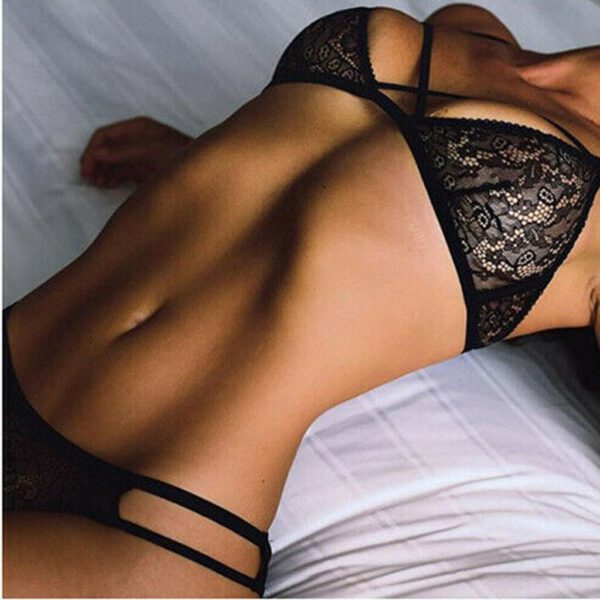 Bra & Brief Sets Women Lingerie Lace Spandex Sexy Up Bra Panties Set G-String Sleepwear Black Nightwear Underwear Set 2PCS