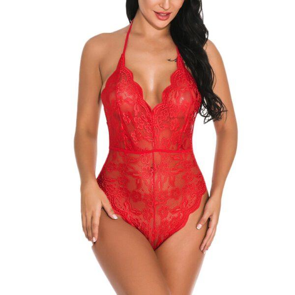Red Black Sexy Lace Lingerie Bodysuit Backless Body Stockings Women Catsuit Underwear Sleepwear G-string Hot Erotic