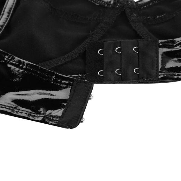 Fashion Female Women Lingerie Nightwear Bra Wetlook Faux Leather Wire-free No Pad Bra Top for Raves Dances Clubwear Cosplay