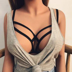 Sexy Underwear Porno Women Erotic Sex Bra Alluring Cage Bra Elastic Cage Bra Strappy Hollow Out Bra Bustier Sexy Lingerie D5