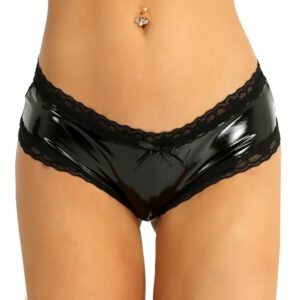 UK STOCK Sexy Panties for Women Femme Lingerie Wetlook Patent Leather Lace Open Crotch Hole V-Back Mini Briefs Ladies Underwear
