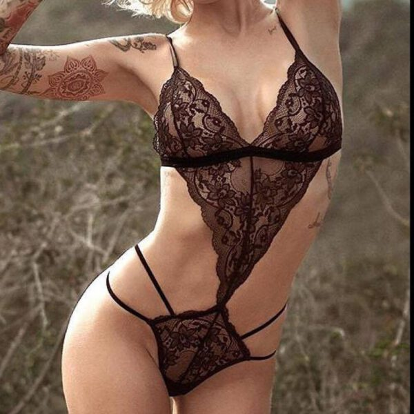 Women Sexy Lingerie Bodysuit Hollow Lace Temptation Teddy Features Plunging Eyelash And Snaps Crotch Body Dentelle Femme Gifts