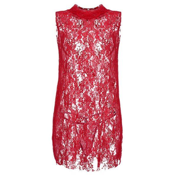 Lace Babydoll Dress Lingerie Sleeveless Sexy For Women Sheer Mini Translucent Nightdress Lingerie Ladies Deep Nightdress