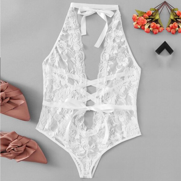G-string porno Women Sexy Lingerie Girl Low Back Cross Floral Lace Sleepwear Babydoll Erotic cosplay costume lingerie porno