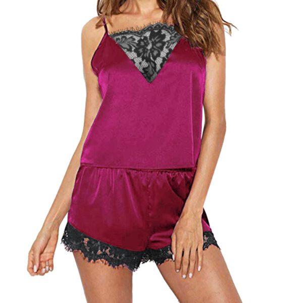 Women Sleeveless Strap Pajama Sets Nightwear Lace Trim Satin Sleepwear Set Top Sexy Lingerie Intimate Ladies Pijama Mujer