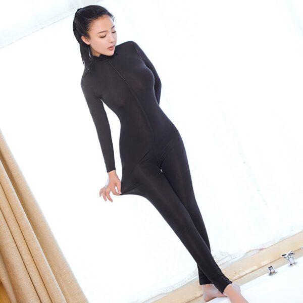 Sexy Women Two Way Zipper Erotic Open Crotch Costume Transparent Bodysuit Turtleneck Body Stockings Wear Sexy Lingerie