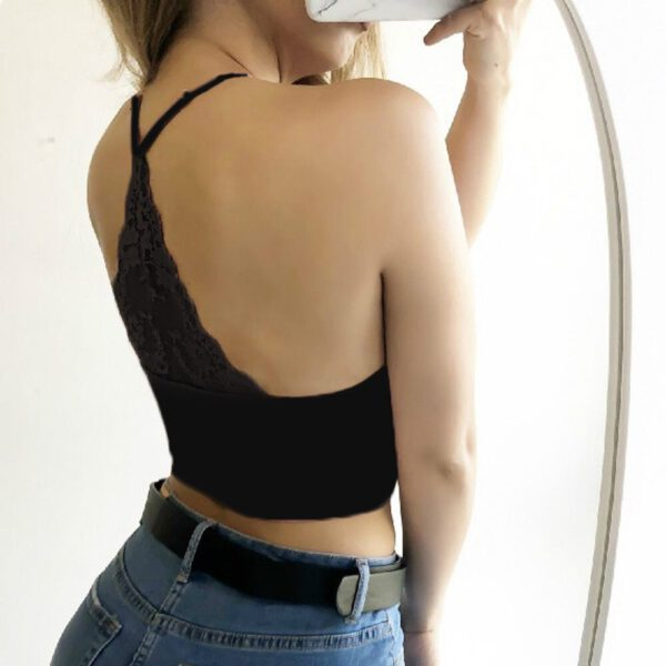 Sexy lingerie soutien gorge New Arrival Comfortable Women Sexy Lingerie Strappy Bras Sleeveless Lace Crop Tops S-3XL 50*