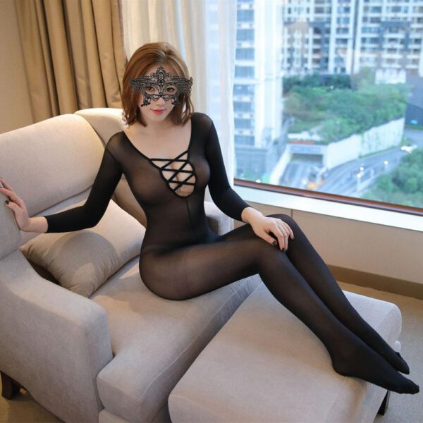 Sexy Women Fishnet Open Crotch Bodystockings Mesh Black Lingerie Erotic Bodysuit Sleepwear Crotchless Teddies 203