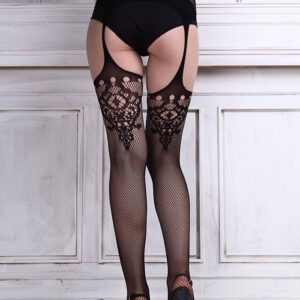 1Pair Sexy Lingerie Lace Garter Belt Set with Fishnet Mesh Thigh High Stockings hot mujer Pantyhose for Women &Wholesale #25