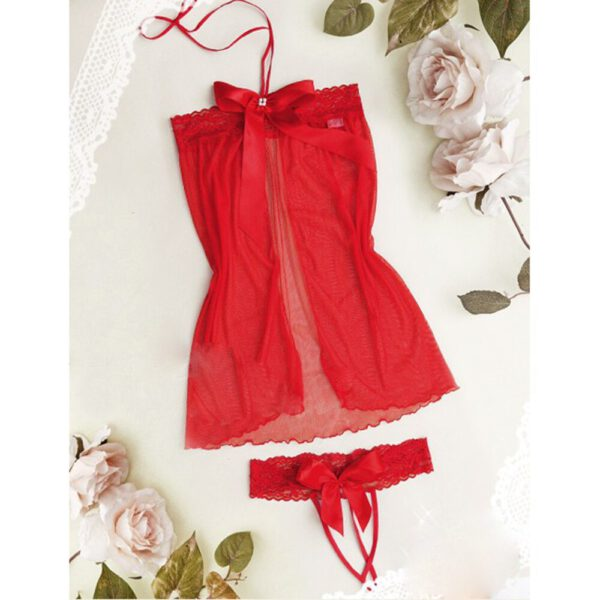 Ladies Babydoll Halter Erotic Underwear Red Bow Women Sexy Lingerie Sleepwear Temptation 3 Point Pajamas Couple Underwear AD