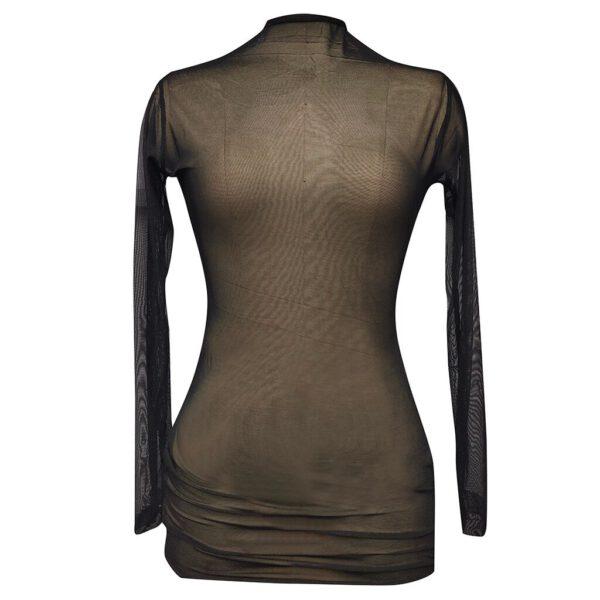 Transparent Sexy Dress Women's Sheer Mesh See-through Long Sleeve Dresses Crop Tops Casual Clubwear Mini Dress Sexy Lingerie
